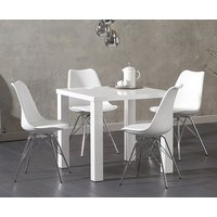 Read more about Atlanta 80cm white high gloss dining table with celine chrome leg chairs