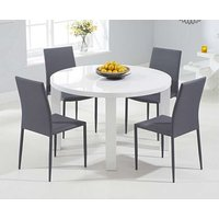 Read more about Ex-display atlanta 120cm round white high gloss dining table with 4 red atlanta stackable chairs