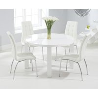 Atlanta 120cm Round White High Gloss Dining Table with Calgary Chairs