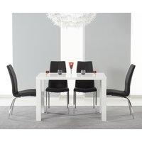 Read more about Atlanta 120cm white high gloss dining table with cavello chairs