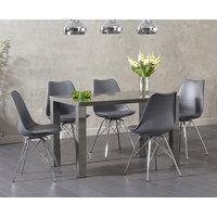 Atlanta 120cm Dark Grey High Gloss Dining Table with Celine Chrome Leg Chairs - White, 4 Chairs
