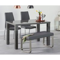 Read more about Atlanta 120cm dark grey high gloss dining table with cavello chairs and atlanta grey bench