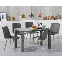 Atlanta 120cm Dark Grey High Gloss Dining Table with Helsinki Faux Leather Chairs