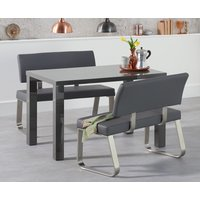 Atlanta 120cm Dark Grey High Gloss Dining Table with Malaga Benches