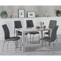 Read more about Atlanta 120cm light grey gloss dining table with cavello chairs