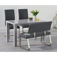 Atlanta 120cm Light Grey High Gloss Dining Table with Malaga Chairs and Malaga Grey Bench