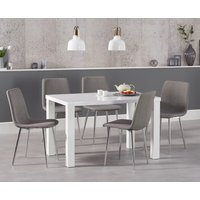Read more about Atlanta 120cm white high gloss dining table with helsinki fabric chrome chairs - grey- 4 chairs