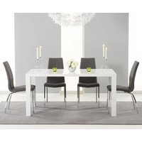 Read more about Atlanta 160cm white high gloss dining table with cavello chairs