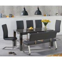 Atlanta 160cm Dark Grey High Gloss Dining Table with Malaga Chairs and Malaga Grey Bench