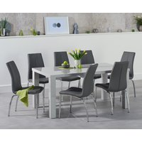 Read more about Atlanta 160cm light grey gloss dining table with cavello chairs