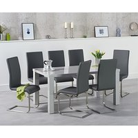 Ex-display Atlanta 200cm Light Grey High Gloss Dining Table with 4 GREY Malaga Chairs