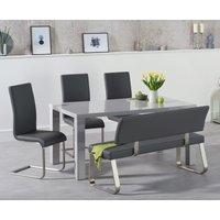 Atlanta 160cm Light Grey High Gloss Dining Table with Malaga Chairs and Malaga Grey Bench