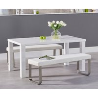 Atlanta 160cm White High Gloss Dining Table with White Atlanta Benches