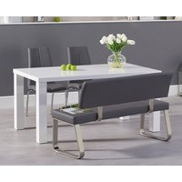 Atlanta 160cm White High Gloss Dining Table with Cavello Chairs and Malaga Grey Bench - Cream, 2 Chairs