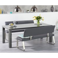 Atlanta 200cm Dark Grey High Gloss Dining Table with Malaga Benches