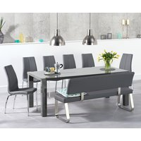 Read more about Atlanta 200cm dark grey high gloss dining table with cavello chairs and malaga large grey bench - grey- 2 chairs