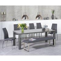 Atlanta 200cm Dark Grey High Gloss Dining Table with Cavello Chairs and Atlanta Large Grey Bench