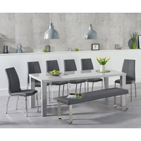Read more about Atlanta 200cm light grey high gloss dining table with cavello chairs and atlanta large grey bench