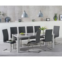 Read more about Atlanta 200cm light grey high gloss dining table with malaga chairs