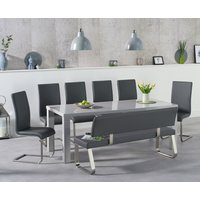 Read more about Atlanta 200cm light grey high gloss dining table with malaga chairs and malaga large grey bench