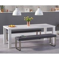 Atlanta 200cm White High Gloss Dining Table with Atlanta Benches