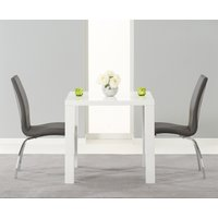 Atlanta 80cm White High Gloss Dining Table with Cavello Chairs