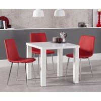 Atlanta 80cm White High Gloss Dining Table with Helsinki Faux Leather Chairs