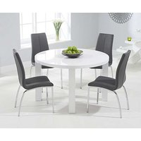 Product photograph showing Ex-display Atlanta 120cm Round White High Gloss Dining Table With 4 White Cavello Chairs