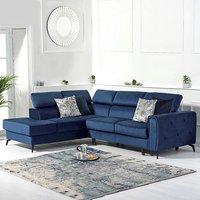 Avery Blue Velvet Left Hand Facing Corner Sofa Bed