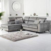 Avery Grey Velvet Left Hand Facing Corner Sofa Bed