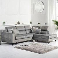 Avery Grey Velvet Right Hand Facing Corner Sofa Bed
