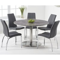 Bali 120cm Round Grey Marble Dining Table With Cavello Dining Chairs - Grey, 2 Chairs