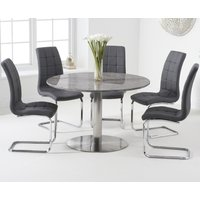Bali 120cm Round Grey Marble Dining Table With Lorin Dining Chairs