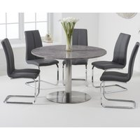 Bali 120cm Round Grey Marble Dining Table With Tarin Dining Chairs - White, 2 Chairs