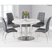 Bali 120cm Round White Marble Dining Table With Calgary Dining Chairs