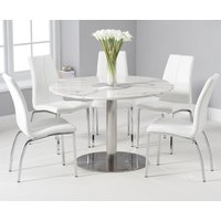 Bali 120cm Round White Marble Dining Table With Cavello Dining Chairs