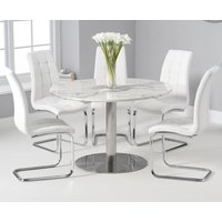 Bali 120cm Round White Marble Dining Table With Lorin Dining Chairs - Cream, 2 Chairs