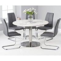 Bali 120cm Round White Marble Dining Table With Tarin Dining Chairs