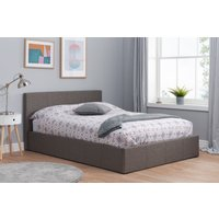 Product photograph showing Natalia Grey Velvet Small Double Ottoman Bed