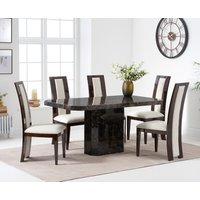 Read more about Belle 160cm brown marble dining table with raphael dining chairs