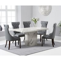 Product photograph showing Belle 160cm White Marble Dining Table With Freya Dining Chairs - Grey 4 Chairs
