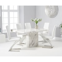 Belle 160cm White Marble Dining Table With Hampstead Dining Chairs