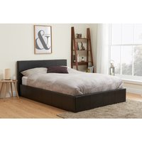 Product photograph showing Natalia Brown Small Double Ottoman Bed