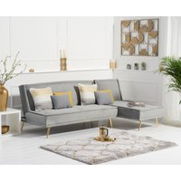 Product photograph showing Ex-display Benson Grey Velvet 3 Seater Chaise Corner Sofa Bed With Gold Legs