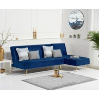 Product photograph showing Benson Blue Velvet 3 Seater Chaise Corner Sofa Bed With Gold Legs