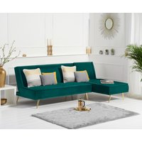 Product photograph showing Benson Green Velvet 3 Seater Chaise Corner Sofa Bed With Gold Legs