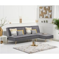 Benson Grey Linen 3 Seater Corner Chaise Sofa Bed with Gold Legs