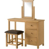 Product photograph showing Bampton Oak Dressing Table And Stool