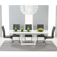 Bianco 160cm White High Gloss Extending Dining Table with 4 Malaga Chairs