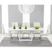 Product photograph showing Ex-display Bianco 160cm White High Gloss Extending Dining Table With 4 White Malaga Chairs